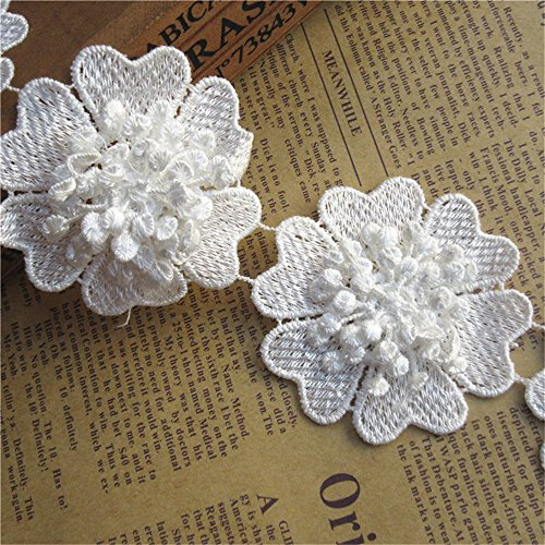 1 Yard Polyester Flower Lace Edge Trim Ribbon 6.5 cm Width Vintage Style White Edging Trimmings Fabric Embroidered Applique Sewing Craft Wedding Bridal Dress Embellishment DIY Party Clothes Embroidery