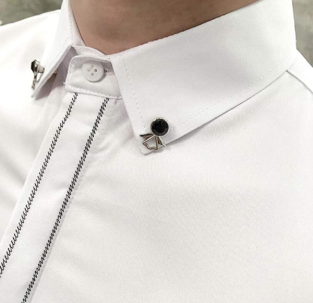 KLJR Men Trendy Long Sleeve Nightclub Embroidery Slim Fit Button Down Blouse Shirt Tops