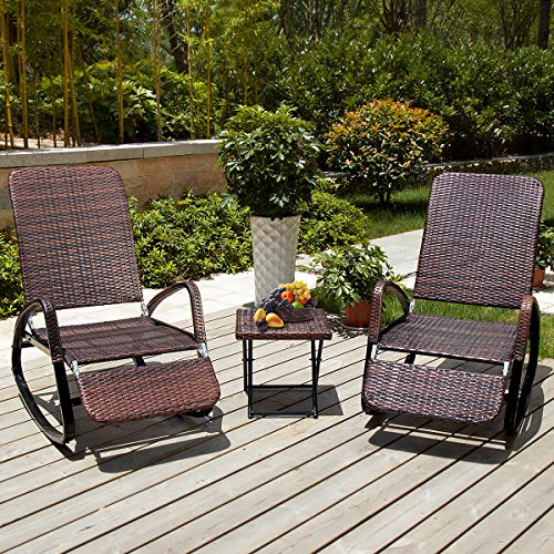 Rustic High Back Rocking Chair - PAMAPIC Outdoor Patio Furniture 3-Piece Wicker Rocking Chair Rattan Adjustable Chaise Lounge Chair Porch Garden Yard (Brown)