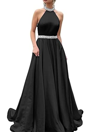 HONGFUYU 2018 Halter Prom Dresses Backless Neckline Rhinestone Beaded Formal Satin Evening Ball Gowns with Pockets