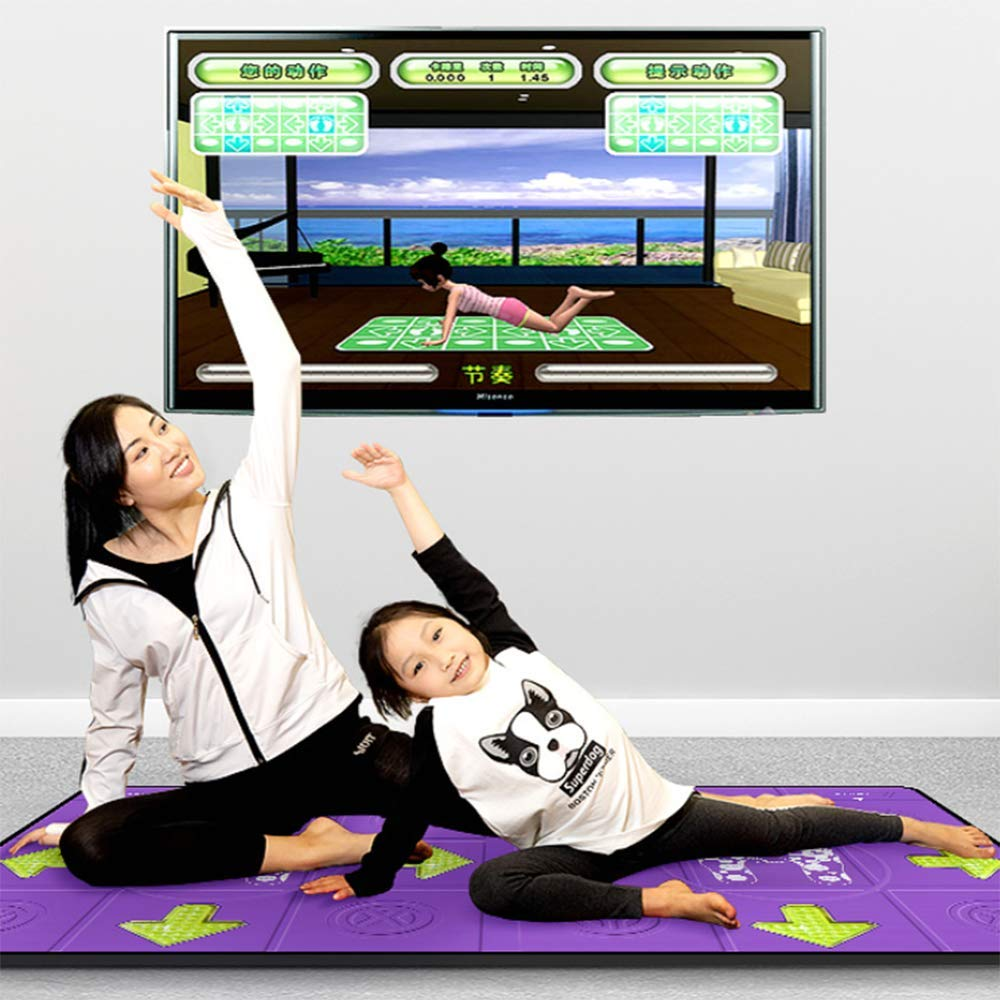 Dance mat Double Yoga Fitness Somatosensory Game Machine PU Blanket Non-Slip, TV+USB Interface, Unlimited Download Song Games