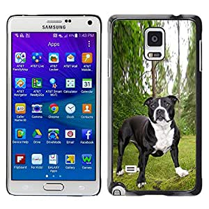 COVERO Samsung Galaxy Note 4 SM-N910F SM-N910K SM-N910C SM-N910W8 SM-N910U SM-N910 / Boston terrier French bulldog pet / Prima Delgada SLIM Casa Carcasa Funda Case Bandera Cover Armor Shell PC / Aliminium
