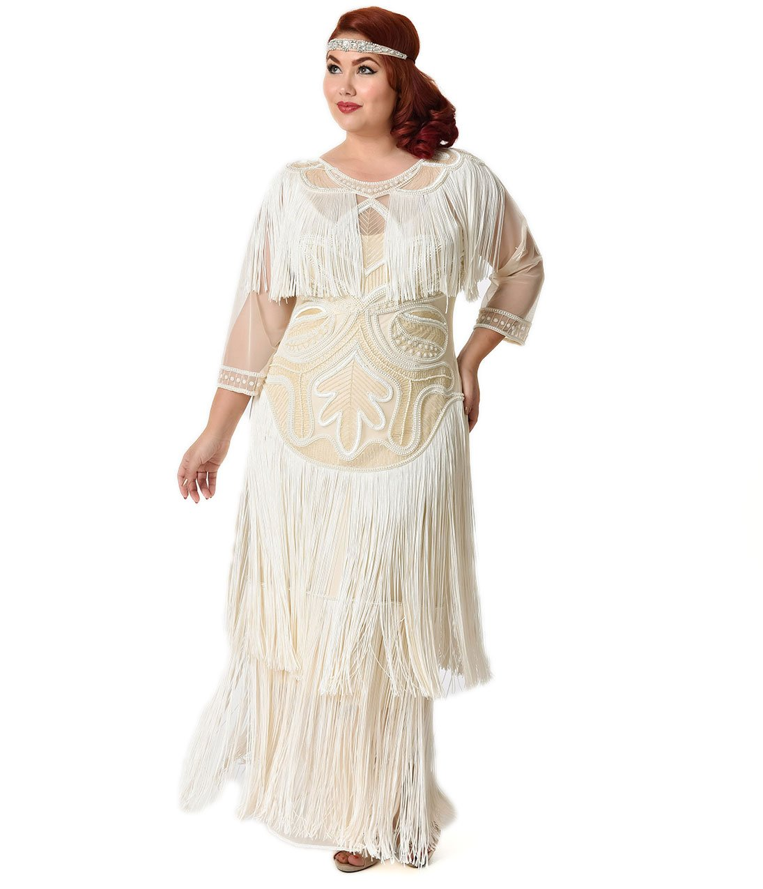 Plus Size 1920s Style Cream Pearl Beaded Mesh Glam Fringe Flapper Maxi Gown by Unique Vintage