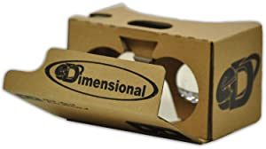 eDimensional 2.0 Virtual Reality Headset V2 Google Cardboard Kit with Head-strap, Video Instructions, VR Portal and Touch Button