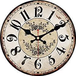 ShuaXin Wall Decor 16 Inch Retro Crown Pattern Designed Wooden Wall Clock Decorative Vintage Wall Watches Room Wall Art (C-02)