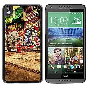 Qstar Arte & diseño plástico duro Fundas Cover Cubre Hard Case Cover para HTC DESIRE 816 ( Graffiti Street Art Spray Paint Artist City)