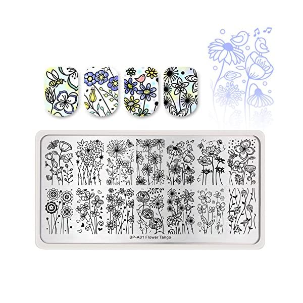 Born Pretty Nail Art Stamping Set 5Pcs Flower Mandala Plates 1Pc Jelly Silicone Stamper for manicuring Print DIY Kit 4