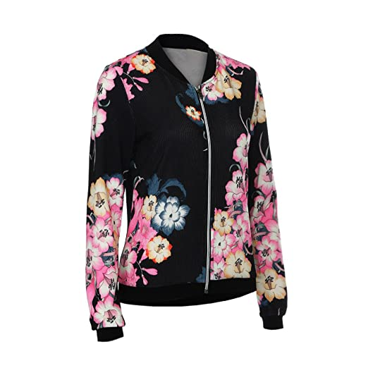 4307aa70c4214 Toimoth Women's Ladies Biker Celeb Camo Flower Floral Print Zipper Up  Bomber Jacket(BlackD,