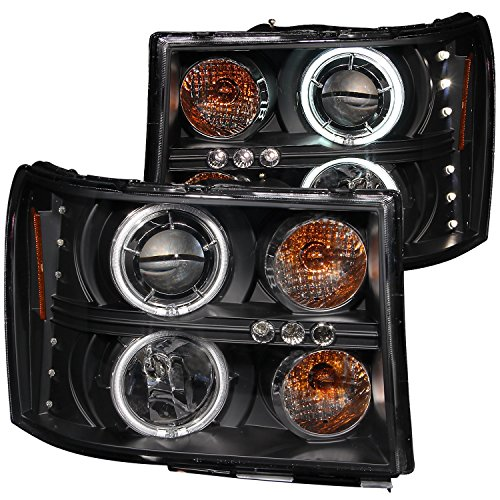 Halo Black Clear Projector Headlights - Anzo USA 111125 GMC Sierra Black Clear Projector with Halos Headlight Assembly - (Sold in Pairs)