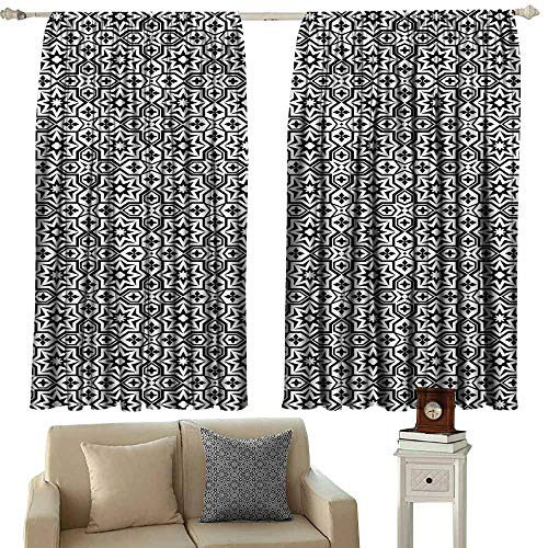 (Outdoor Patio Curtains,Black Old Antique Kitchen Decor Floor Tiles Inspired Royal Star and Flower Like Image,for Patio/Front Porch,W63x72L Inches,Black and White )