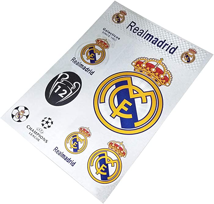 Football Club Soccer Team Logo Stickers Car Glass/Wall/Laptop/Favorite Items Sticker Decal (Real-Madrid, 7.5-10.6 inch)