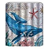 Ammybeddings Lovely Shark Shower Curtain Set, Aqua Colors Artsy Ocean Animal Print Sketch Style Creative Sea Maritime Theme, Fabric Bathroom Decor with Hooks, 7171 Inche, Blue Purple White