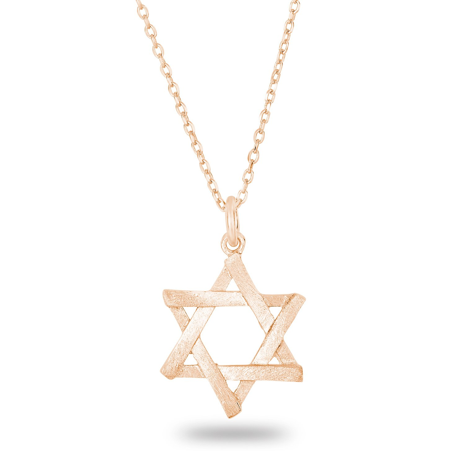 Rose Gold Plated Silver Matte Finish Brush Textured 6 Point Jewish Star David Pendant Necklace, 18''