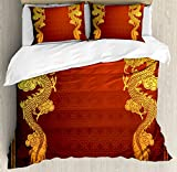 Eastern King Size Bed Measurements Ambesonne Dragon Duvet Cover Set King Size, Chinese Heritage Historical Asian Eastern Motif with Legendary Creature Design, Decorative 3 Piece Bedding Set with 2 Pillow Shams, Orange Yellow