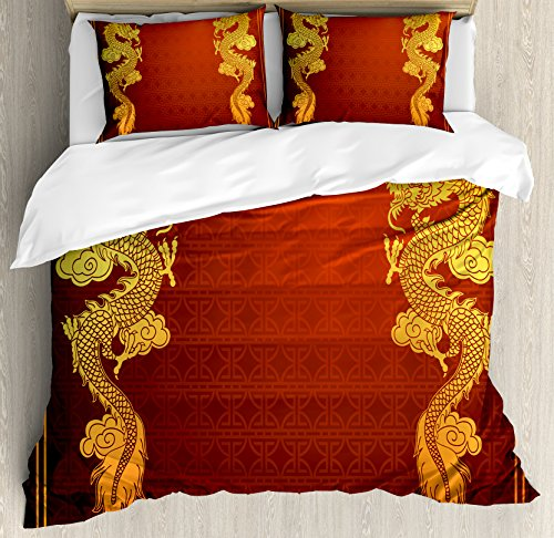 Ambesonne Dragon Duvet Cover Set Queen Size, Chinese Heritage Historical Asian Eastern Motif with Legendary Creature Design, Decorative 3 Piece Bedding Set with 2 Pillow Shams, Orange (3 Piece Set Headboard)