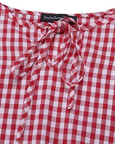 StyleDome Mujer Camiseta Playa Mangas Largas Volante Verano Cuello Redondo Elegante Noche Oficina 1 Rojo