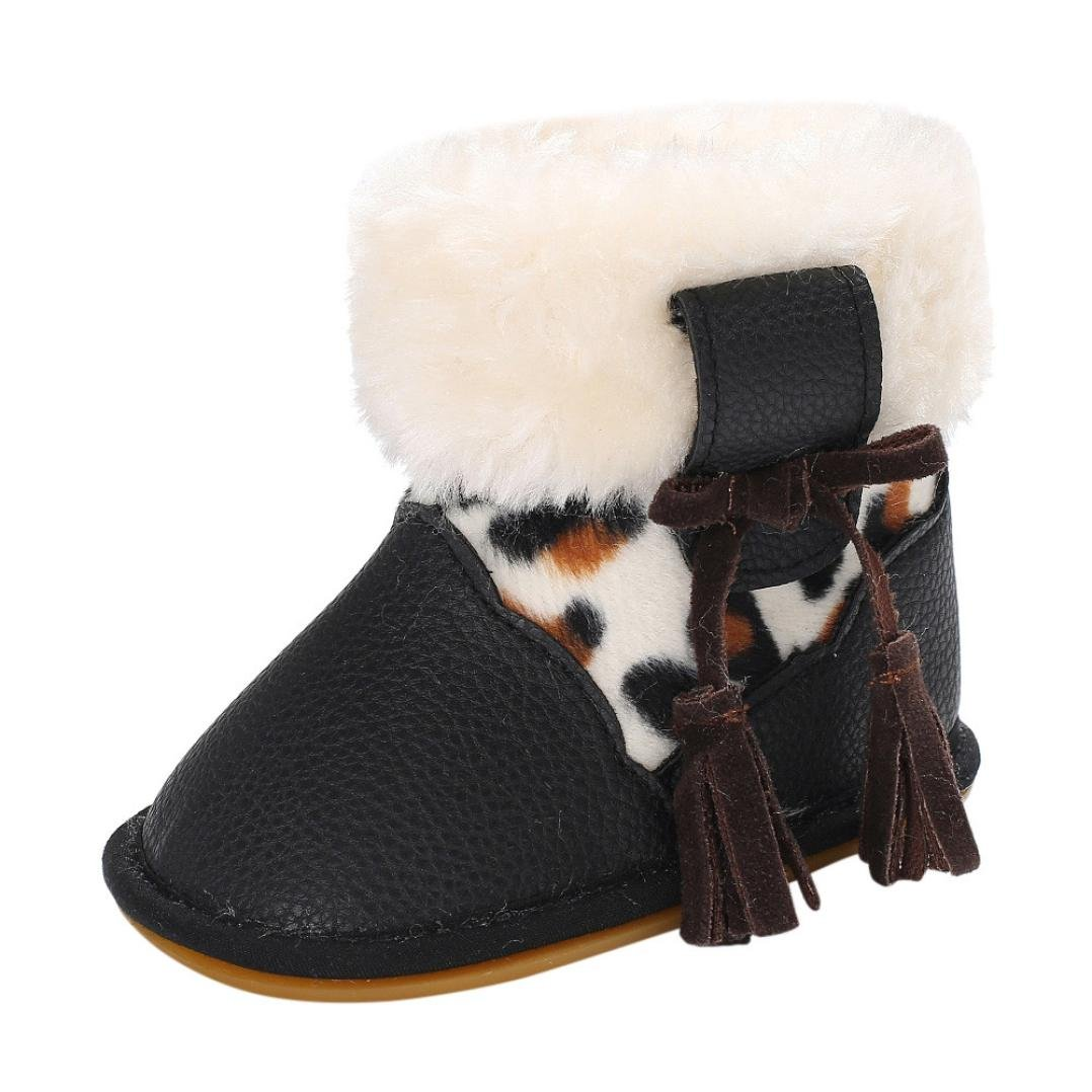 WARMSHOP Girls Boys Soft Snow Boots Solid Color Lace-up Newborn Warming Shoes