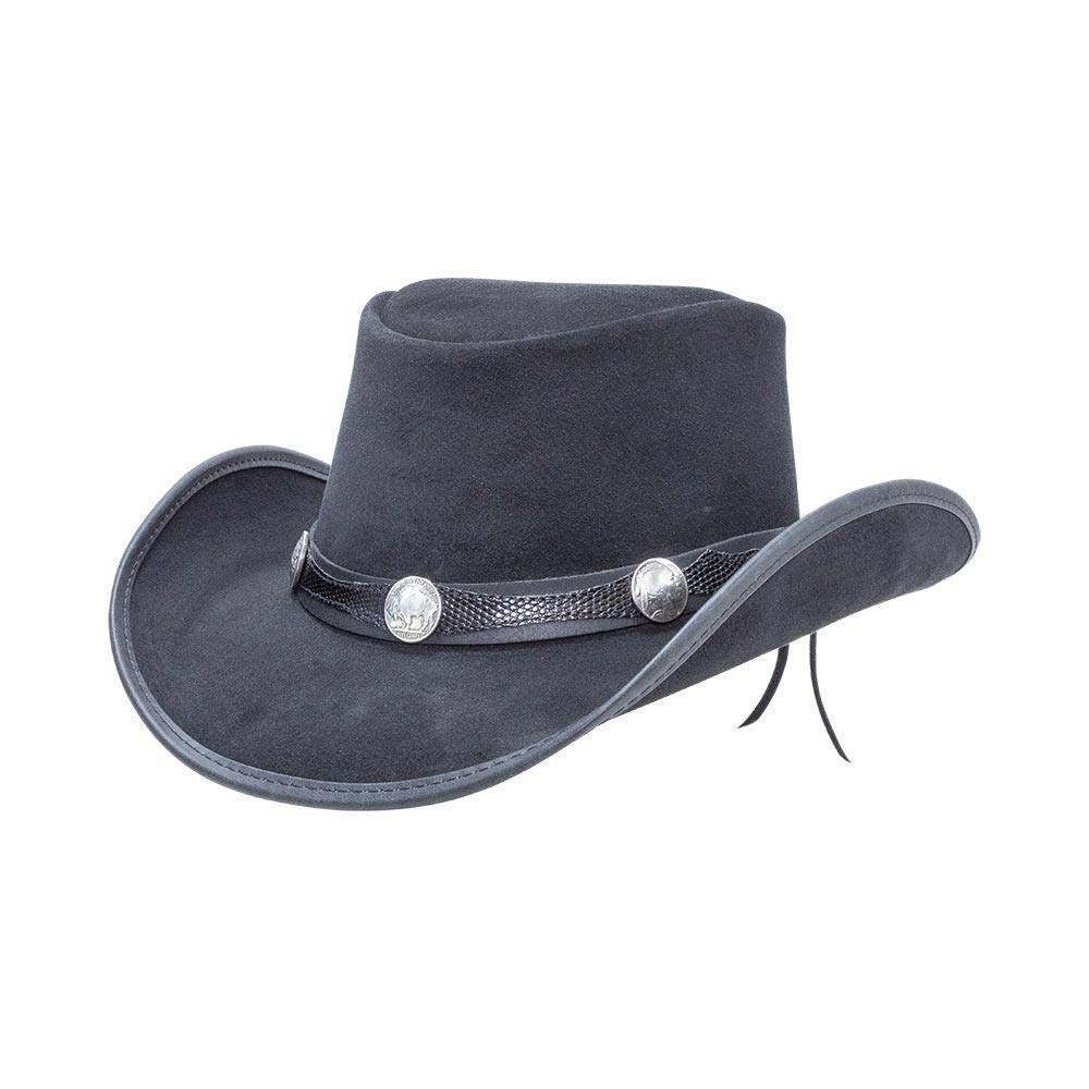 American Hat Makers Plainsman-Blazer Band by Double G Hats Cowboy Leather Hat Black by American Hat Makers