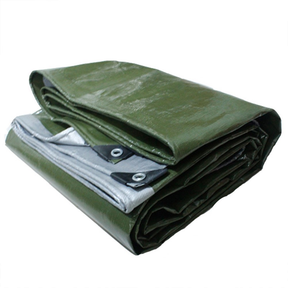 Waterproof Cloth Home Außenzelt Plane, Dicke regenfeste Sonnencreme Plane Dreirad LKW Plane Zelt Tuch Faltbare Anti-Oxidation, grün + Silber (Farbe   Army Grün+Silber, Größe   5x5M)