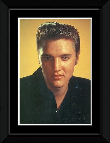 Elvis Presley - camisa negra Lámina enmarcada - 14,4 x 9,2 cm ...