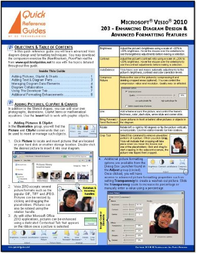 MICROSOFT VISIO 2010 Professional & Standard Quick Reference Guide - Intermediate/Advanced Visio: Enhancing Diagram Design & Advanced Formatting Features (203)