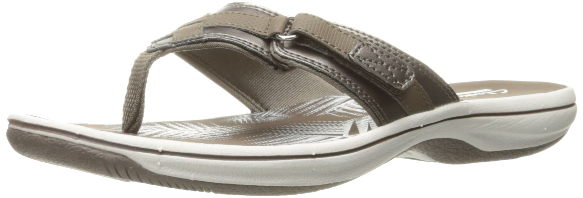 CLARKS Women's Breeze Sea Flip Flop, New Pewter Synthetic, 8 B(M) US