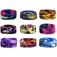 Scott Edward 9pcs Headbands Headwear elástico Magia Bufanda Bandana Bandas de Deportes Yoga sin Costuras Camuflaje, Color de la Flor, Color Multi-Solid, para los Hombres y Las Mujeres