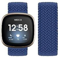 Vozehui Compatibel met Fitbit Sense/Fitbit Versa 3-riem, elastisch, ademend, zacht, nylon, kinitting sportband, voor…