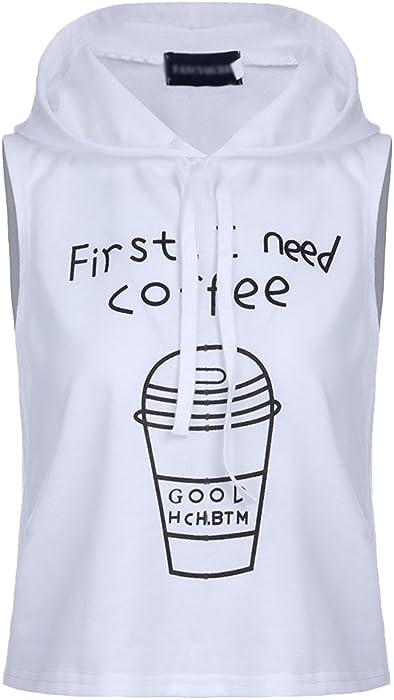 ZKOOO Mujeres Camiseta de Tirantes Sudaderas con Capucha Sin Mangas Cartas Impresión T-Shirt Camisa Blusa de Tanque Tapas Casual