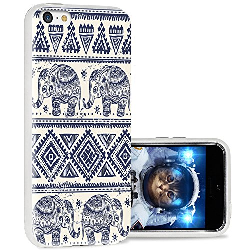 iPhone 5c case Cool, iPhone 5c case Cute, ChiChiC Full Protective Stylish Case Slim Durable Soft TPU Cases Cover for iPhone 5c,Blue Indigo Ethnic Cute Elephant