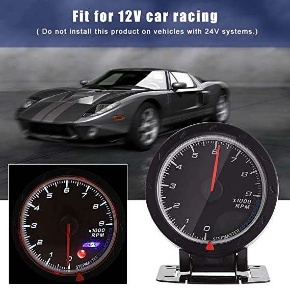 TOOGOO Tachometer Tach Gauge with Holder Cup for Auto Car 2 52mm 0~8000RPM Blue LED Light R