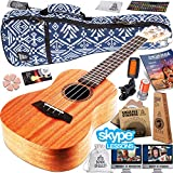 Ukulele Starter Kit (15-FREE-Bonuses) Mahogany Uke, Compression Sponge Case, Aquila Strings, Felt Picks, Tuner, Chord Stamp, Chord Chart, Leather Strap, Live Lesson & More (Limited Time)