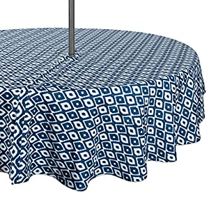 "DII Spring & Summer Outdoor Tablecloth, Spill Proof and Waterproof with Zipper and Umbrella Hole, Host Backyard Parties, BBQs, & Family Gatherings - (60"" Round - Seats 2 to 4) Blue Ikat"