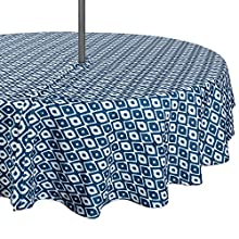 "DII Spring & Summer Outdoor Tablecloth, Spill Proof and Waterproof with Zipper and Umbrella Hole, Host Backyard Parties, BBQs, Family Gatherings - (60"" Round - Seats 2 to 4) Blue Ikat"