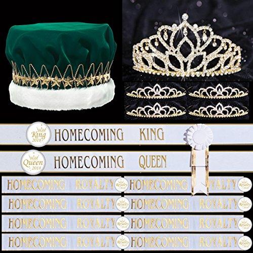 Court Tiaras - 36-Piece Gold Homecoming Royalty Set, Queen Tiara, King Crown, 4 Court Tiaras, 10 White Sashes, 10 Rosettes, 10 Buttons
