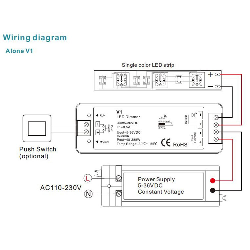 Led Controller Dimmer Touch Single Color Remote Control Rf24g Wifi Wiring Diagram 230v Lighting Dimming For Strip Tools Home Improvement