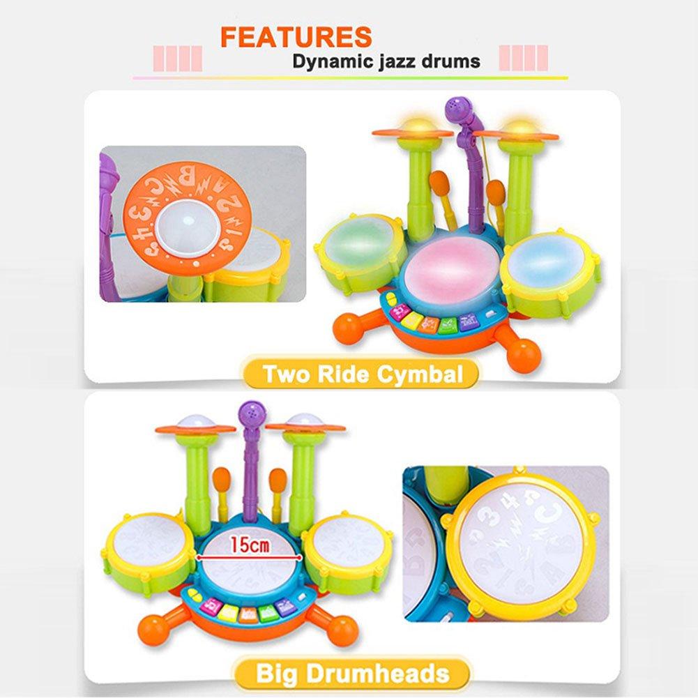 Batería de juguete para niños, con luces y micrófono ajustable, educativa y con varias funciones y actividades: Amazon.es: Juguetes y juegos