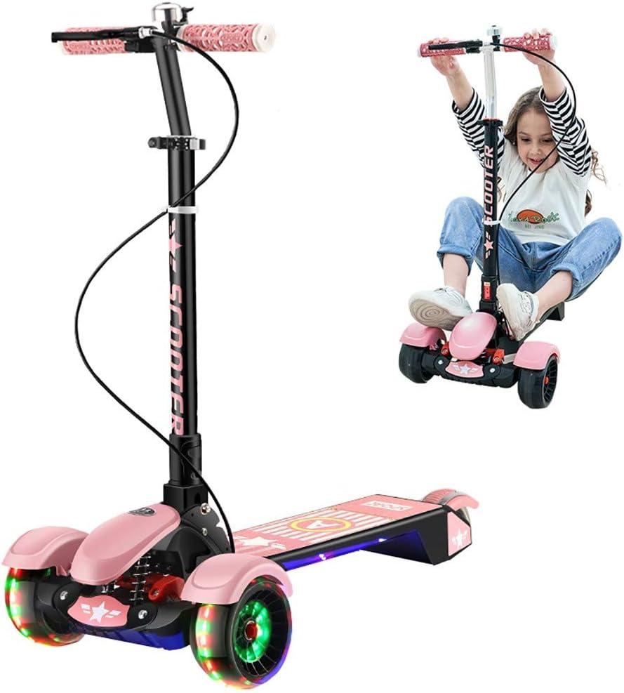 DODOBD Patinete Scooter Niña y Niño 2 a 8 a 18 Años, Altura Ajustable Plegable Patinete Infantil Cooter 3 Ruedas LED Extra Anchas Luminosas Deportivos Juegos Scooter Apoyan 100 Kg