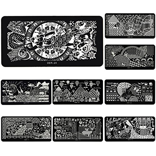 Nail Tools - Stainless Nail Art Image Stamp Stamping Plates Manicure Template - Nail Image Stamping Plates Stamp Plate Stamper Nails Stamps Flower Template - (Halloween Gel Nail Ideas)