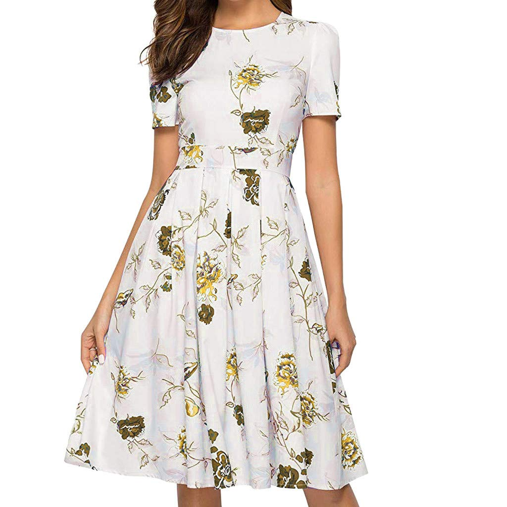 Women's Vintage Floral Dress Short Sleeve Ladies Skirt Crew Neck Dress (Yellow,XL)