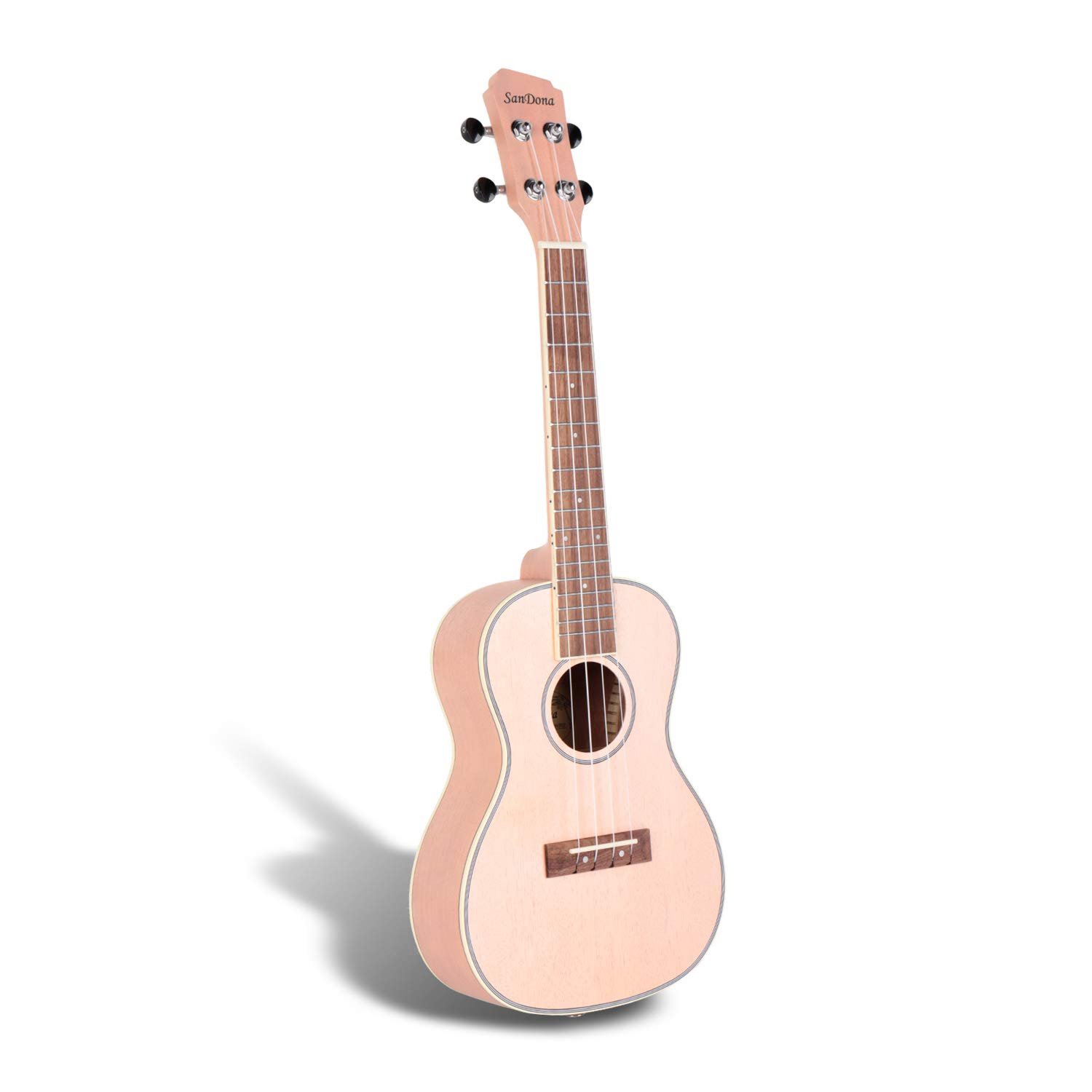 SANDONA Concert Ukulele 24 Inch Kit UKCB-MH | Okoume Solid Wood | Complete Concert Set with Strap, Aquila Strings, Digital Tuner and Gig bag | Accurate Tuning | Pink Champagne