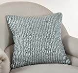 Fennco Styles Cassandra Collection Knitted Design Pillow - 3 Colors - 2 Sizes (20'' Square, Aqua)