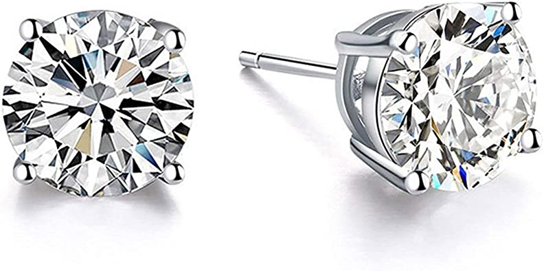 925 Sterling Silver Rose Stud Earrings Set With Simulated Brilliant Diamonds.