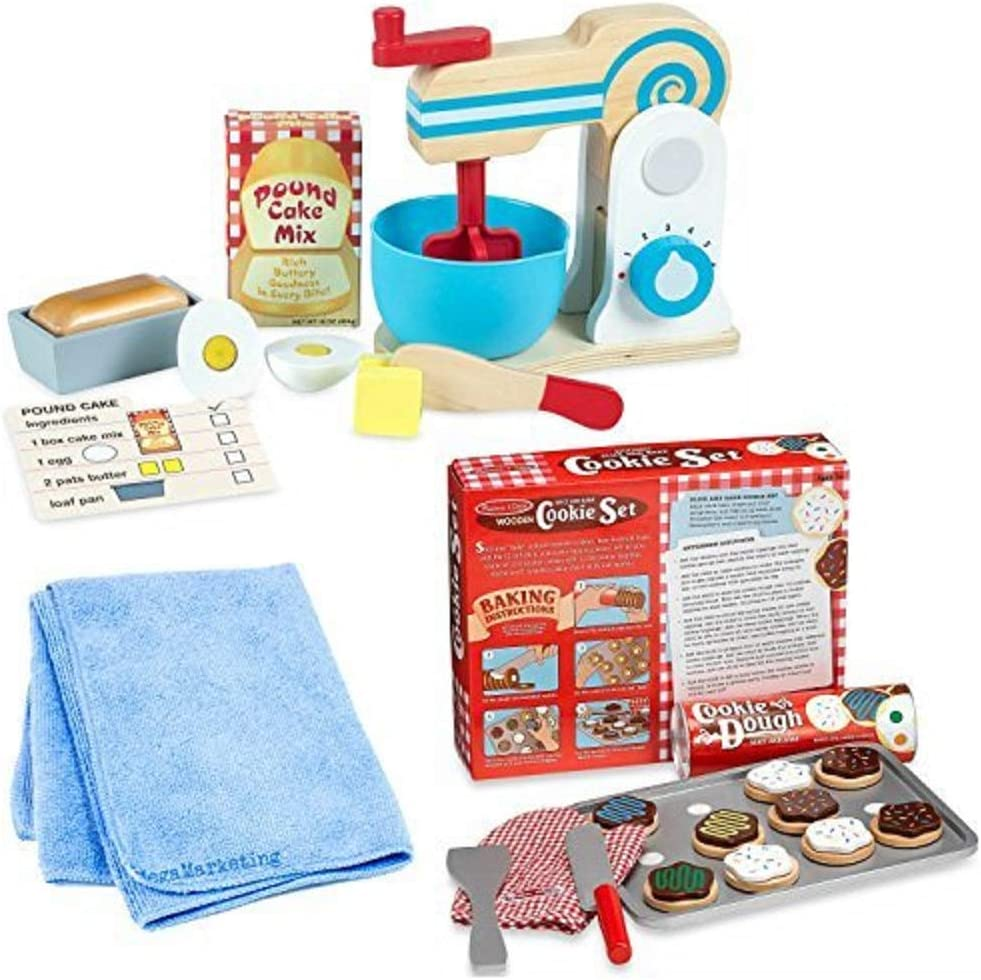 Melissa & Doug Wooden Make-A-Cake Mixer Set with Melissa & Doug Wooden Slice and Bake Cookie Set, Bundle with Cleaning Cloth