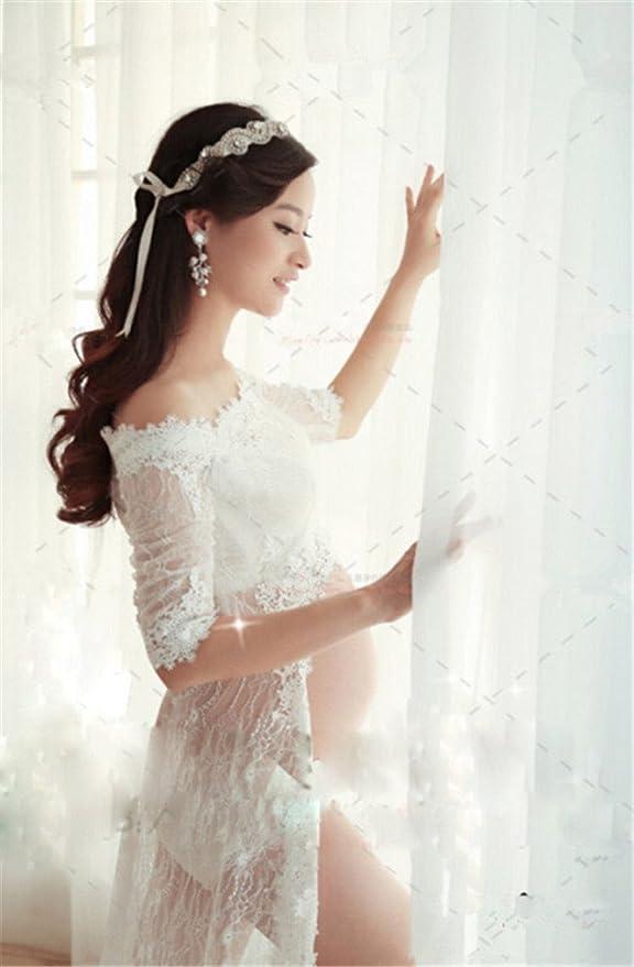 love-baby 3pcs blanco gasa vestido de maternidad sólido Maxi vestido embarazadas fotografía Props: Amazon.es: Electrónica