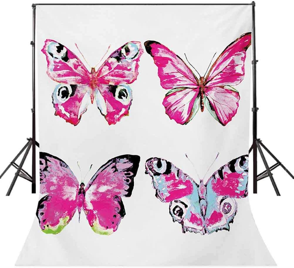 Watercolor 4x6 FT Photo Backdrops,Artistic Butterflies Spring Season Nature Wildlife Insects Vintage Background for Baby Shower Bridal Wedding Studio Photography Pictures Pink Baby Blue and Black
