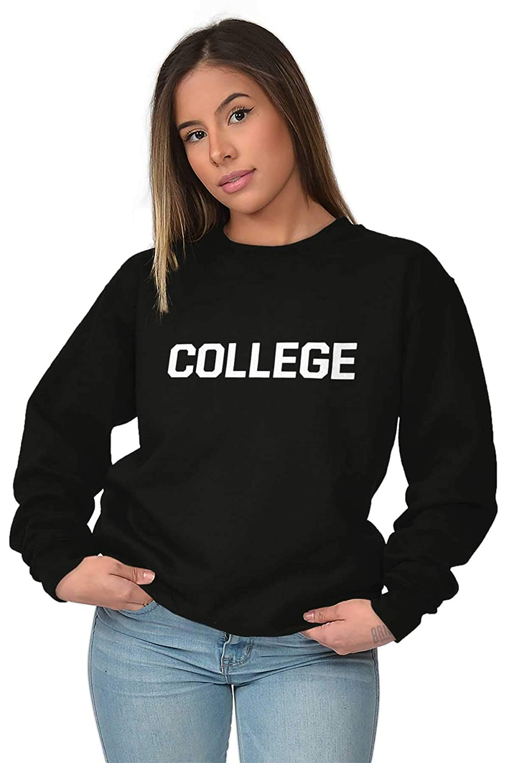 288c2a85 Amazon.com: Brisco Brands College University School Spirit Funny Crewneck  Sweatshirt: Clothing