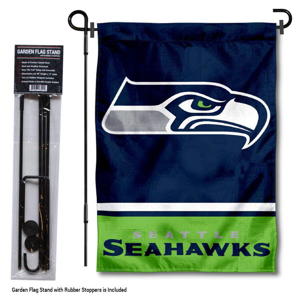 WinCraft Seattle Seahawks Garden Flag with Stand Holder