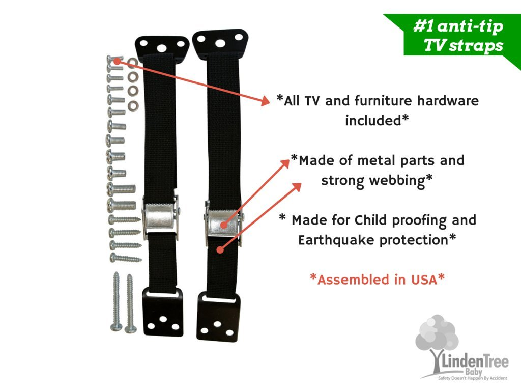 SUPER VALUE PACK Multi-Purpose Anti Tip TV Strap. All Metal Parts. Easy Install by PEROZEK (Image #3)