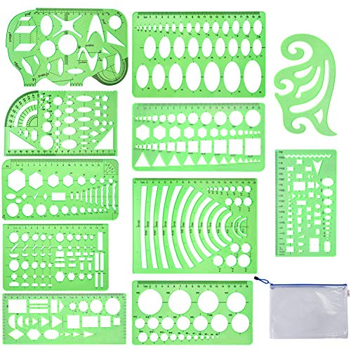 (Qincling 11 Pieces Geometric Drawings Templates Stencils Plastic Measuring Template Rulers Clear Green Shape Template for Drawing Engineering Drafting Building School Office Supplies)
